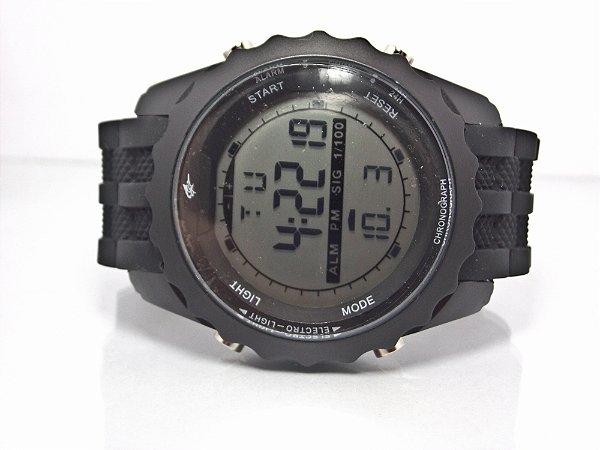 ec4e2462d1f Relógio Potenzia preto digital com cronômetro pulseira de silicone ...