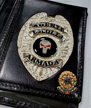 Distintivo Carteira Couro Agente Escolta Armada Folheado À Prata Brinde Bótom