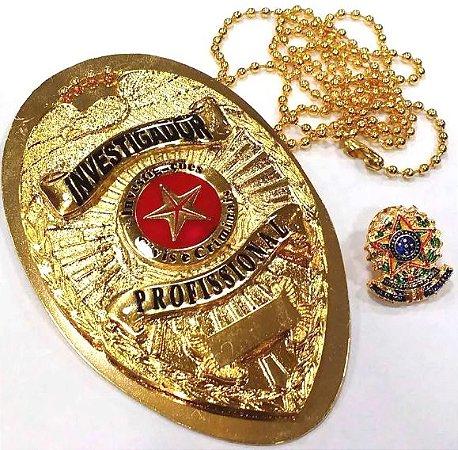 Distintivo Investigador Profissional Folheado a Ouro Brinde Bótom