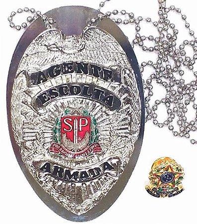Distintivo Agente De Escolta Armada São Paulo Folheado À Prata Brinde Bótom