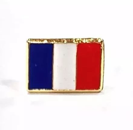 Bótom Pim Broche Bandeira França 13x9mm Folheado A Ouro