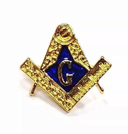 Pim Bótom Broche Maçonaria Azul 12mm Folheado A Ouro