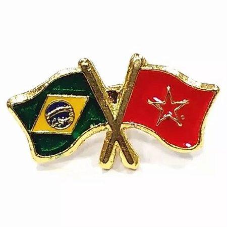 Bótom Pim Broche Bandeira Brasil X Marrocos Folheado A Ouro