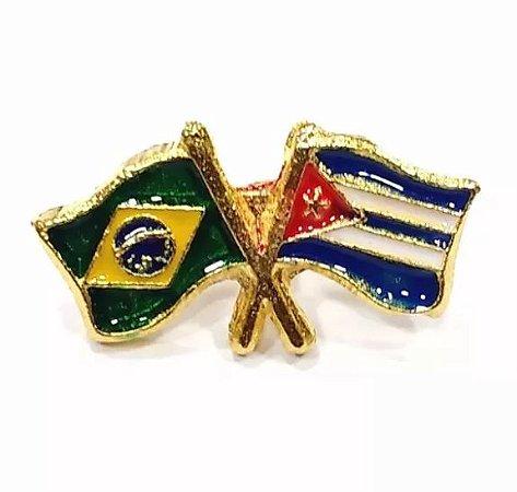 Bótom Pim Broche Bandeira Brasil X Cuba Folheado A Ouro
