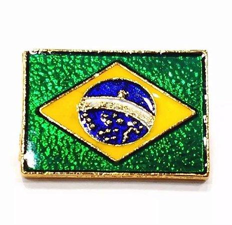 Pim Bótom Broche Bandeira Do Brasil 23mm Folheado A Ouro