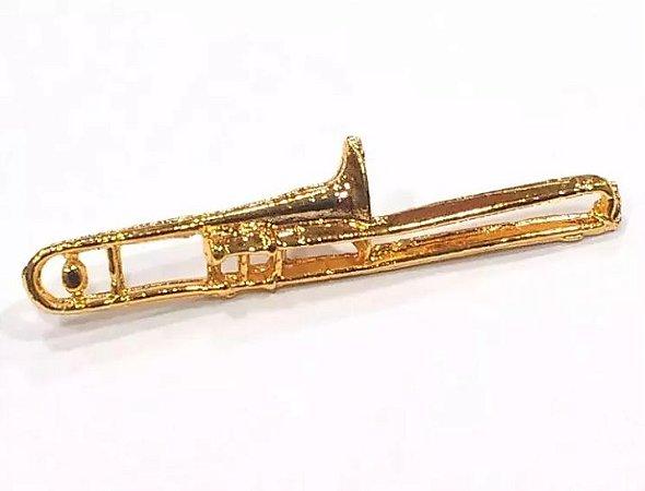 Bótom Pim Broche Trompete De Vara 45mm Instrumento Musical Folheado A Ouro