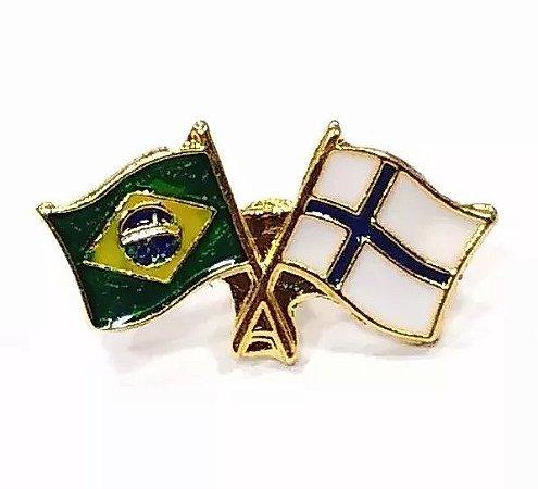Bótom Pim Broche Bandeira Brasil X Finlândia Folheado A Ouro