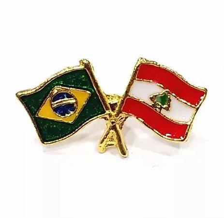 Bótom Pim Broche Bandeira Brasil X Líbano Folheado A Ouro
