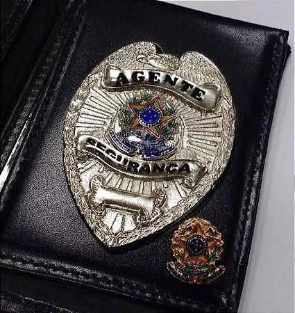 Distintivo Carteira Couro Agente De Segurança Folheado À Prata Brinde Bótom
