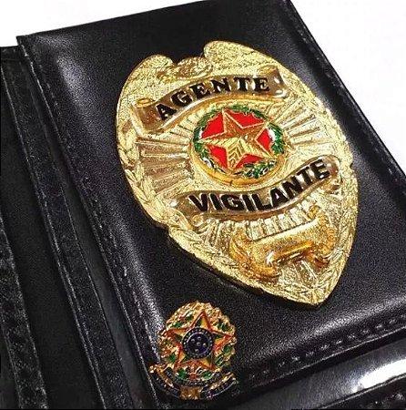 Distintivo Carteira Couro Agente Vigilante Folheado A Ouro Brinde Bótom