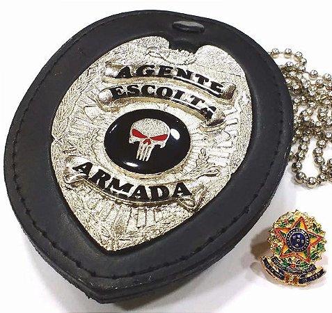 Distintivo Agente De Escolta Armada Couro Folheado À Prata + Bótom