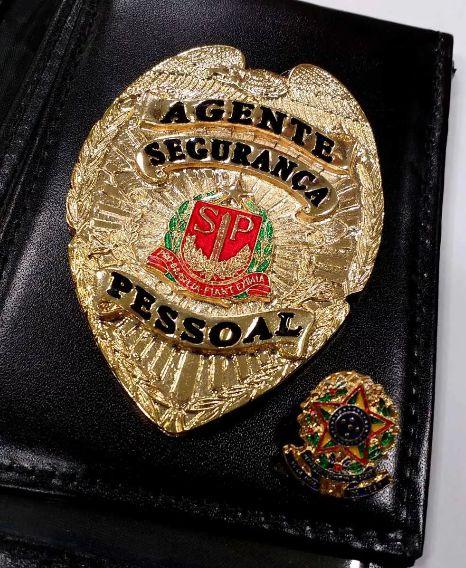 Distintivo Porta Funcional Agente Segurança Pessoal Folheado A Ouro + Bótom