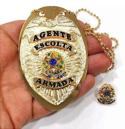 Distintivo Agente De Escolta Folheado A Ouro Brinde Bótom
