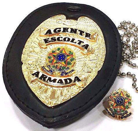 Distintivo Agente De Escolta Armada Couro Folheado A Ouro Brinde Bótom