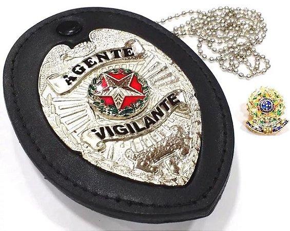 Distintivo Agente Vigilante Folheado À Prata Couro + Bótom