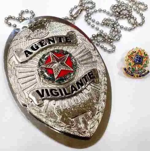 Distintivo Agente Vigilante Folheado À Prata Brinde Bótom