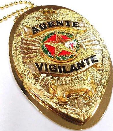 Distintivo Agente Vigilante Folheado A Ouro Brinde Bótom