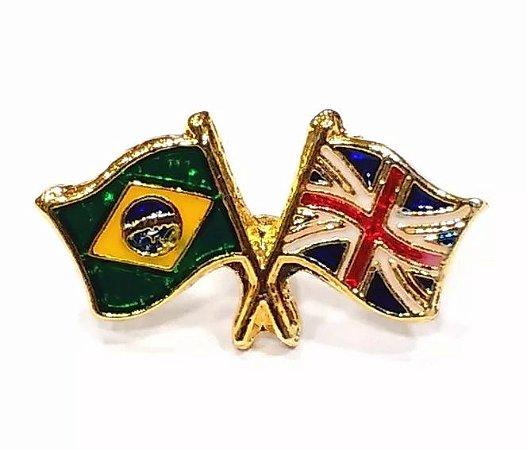 Bótom Pim Broche Bandeira Brasil X Reino Unido Inglaterra