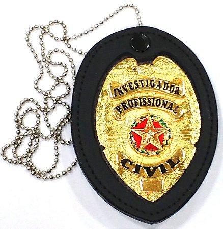 Distintivo Investigador Profissional Civil Folheado A Ouro Brinde Bótom