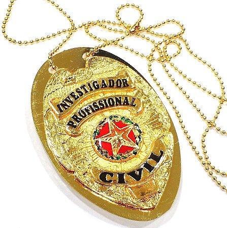 Distintivo Investigador Profissional Civil Folheado A Ouro + Bótom