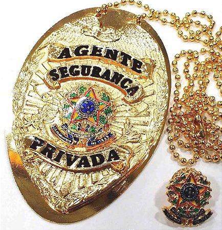 Distintivo Agente De Segurança Privada Folheado A Ouro Brinde Bótom