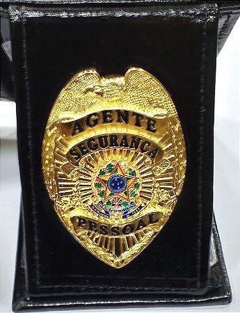 Distintivo Carteira Completa Couro Agente De Segurança Pessoal Brinde Bótom