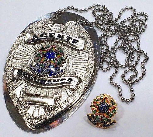 Distintivo Agente De Segurança Folheado À Prata Brinde Bótom