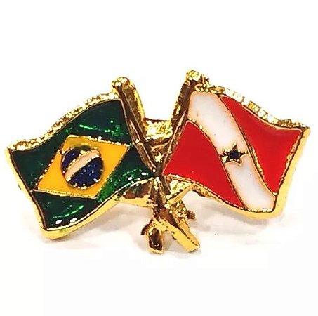 Pim Bótom Broche Bandeira Do Estado Do Pará Folheado A Ouro