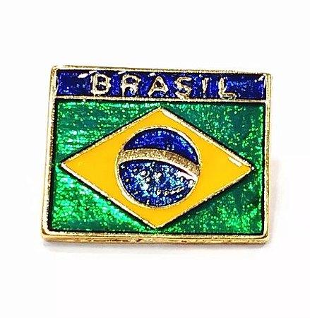 Pim Bótom Broche Bandeira Do Brasil 18mm Folheado A Ouro