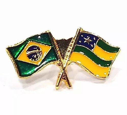 Pim Bótom Broche Bandeira Estado De Sergipe Folheado A Ouro