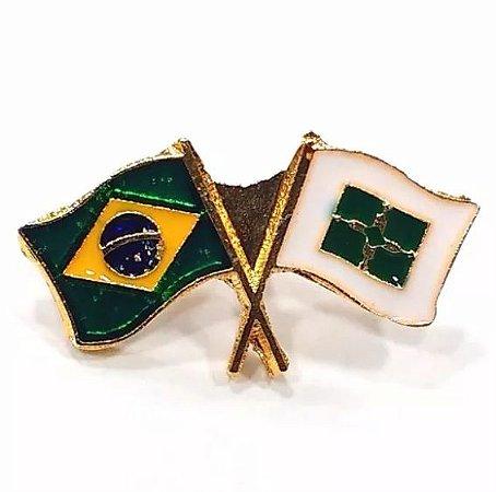 Pim Bótom Broche Bandeira Distrito Federal Brasília Folheado