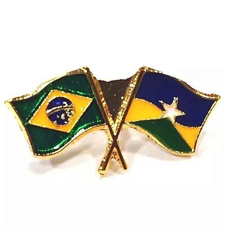 Pim Bótom Broche Bandeira Estado De Rondônia Folheado A Ouro