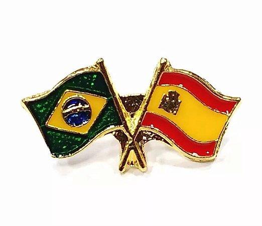Bótom Pim Broche Bandeira Brasil X Espanha Folheado A Ouro