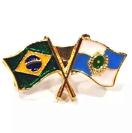 Pim Bótom Broche Bandeira Estado Do Rio De Janeiro Folheado A Ouro