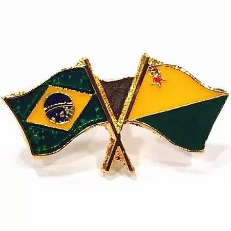 Pim Bótom Broche Pin Bandeira Estado Do Acre Folheado A Ouro