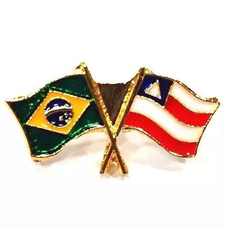 Pim Bótom Broche Bandeira Brasil X Estado Da Bahia Folheado A Ouro