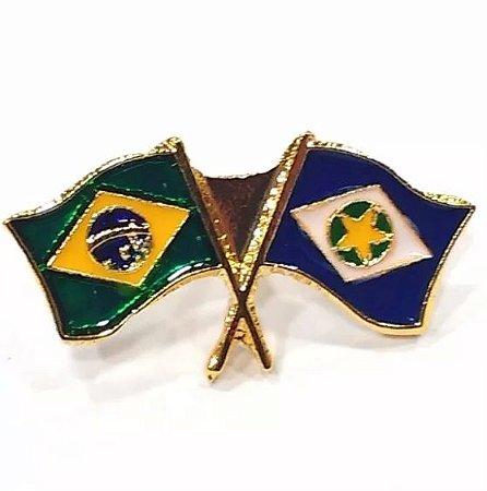 Pim Bótom Broche Pin Bandeira Estado Do Mato Grosso Folheado A Ouro