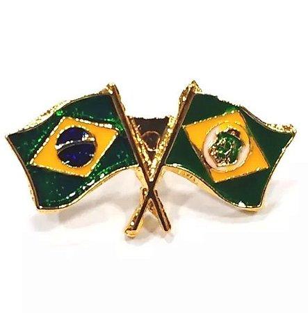 Pim Bótom Broche Bandeira Brasil X Estado Do Ceará Folheado À Ouro