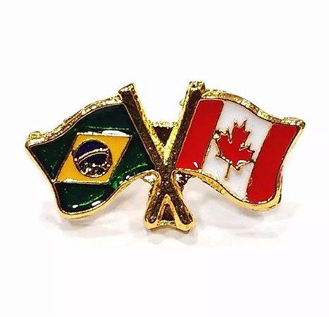 Bótom Pim Broche Bandeira Brasil X Canadá Folheado A Ouro