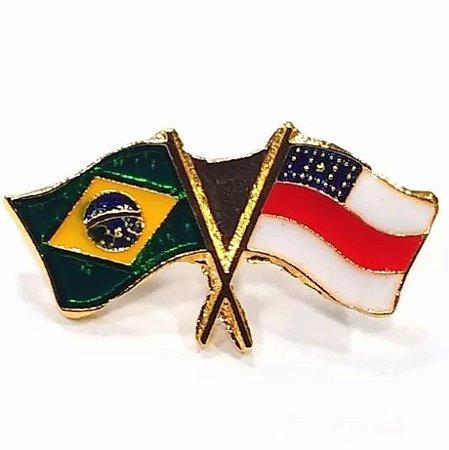 Pim Bótom Broche Bandeira Estado Do Amazonas Folheado A Ouro
