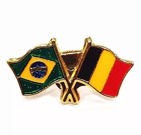 Bótom Pim Broche Bandeira Brasil X Bélgica Folheado A Ouro