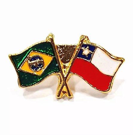 Bótom Pim Broche Bandeira Brasil X Chile Folheado A Ouro