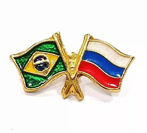 Bótom Pim Broche Bandeira Brasil X Rússia Folheado A Ouro