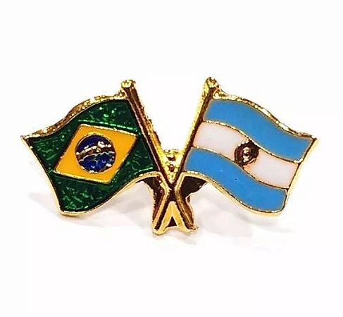 Bótom Pim Broche Bandeira Brasil X Argentina Folheado A Ouro