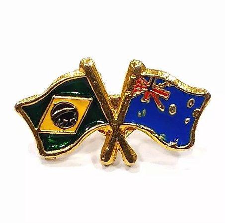 Bótom Pim Broche Bandeira Brasil X Austrália Folheado A Ouro