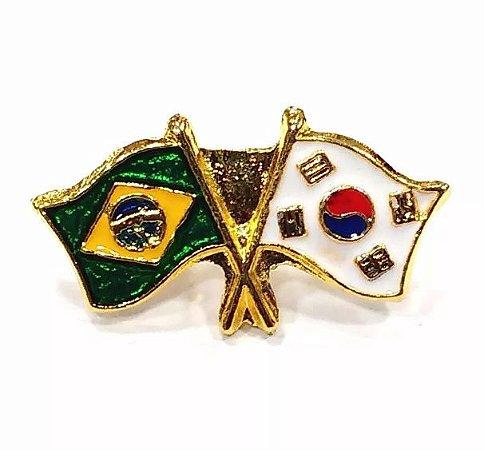 Bótom Pim Broche Bandeira Brasil X Coréia Do Sul Folheado A Ouro