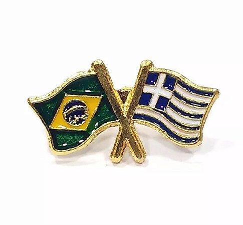 Pim Bótom Broche Bandeira Brasil X Grécia Folheado A Ouro