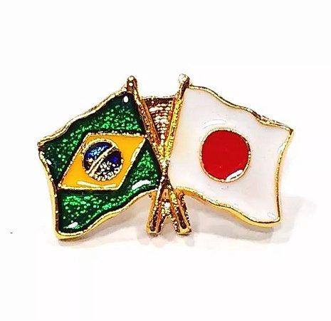 Bótom Pim Broche Bandeira Brasil X Japão Folheado A Ouro
