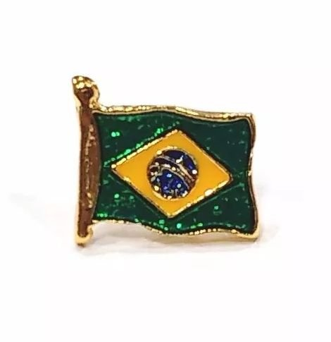 Pim Bótom Broche Bandeira Do Brasil 12mm Folheado A Ouro