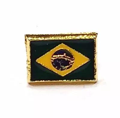 Pim Bótom Broche Bandeira Do Brasil 10mm Folheado A Ouro